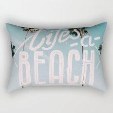 Lifes a beach #vintage Rectangular Pillow