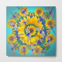 SHABBY CHIC BLUE DRAGONFLIES ON YELLOW SUNFLOWERS ART Metal Print