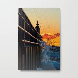 Sunset SPLASH At The Lighthouse Metal Print