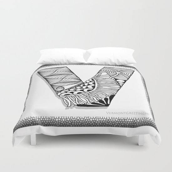 Zentangle V Monogram Alphabet Illustration Duvet Cover