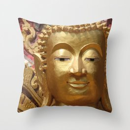 Buddha Head Illustration Design gold Throw Pillow