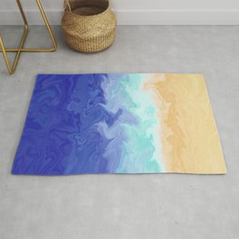 Seascape Liquefied Layers Coastal Summer Abstract Digital Painting Rug