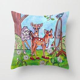 Sister Deer Throw Pillow
