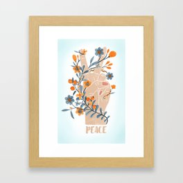 Peace Sign With Orange Flowers, Blue Flowers And Vines Framed Art Print