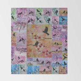 the serenity series- patchwork of sakura and birds -watercolor and acrylic- by Catherine Jacobs Throw Blanket