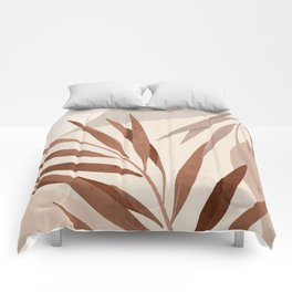 Minimal Abstract Art Tropical Leaf Comforters