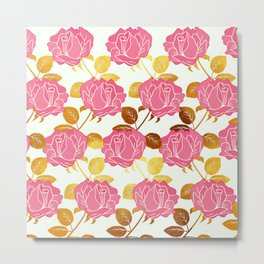 Numble Gold | Pink roses golden flowers pattern Metal Print