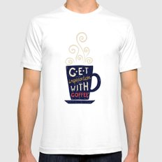 Get inspiration with coffee SMALL Mens Fitted Tee White