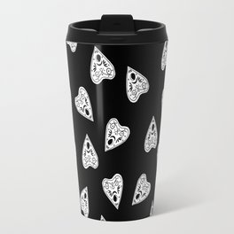 Ouija planchette black and white linocut pattern gifts spiritual magical witches Travel Mug