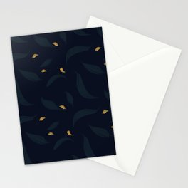 dark spring leafs with gold petals Stationery Cards