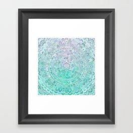 Turquoise Ice Flower Mandala Framed Art Print