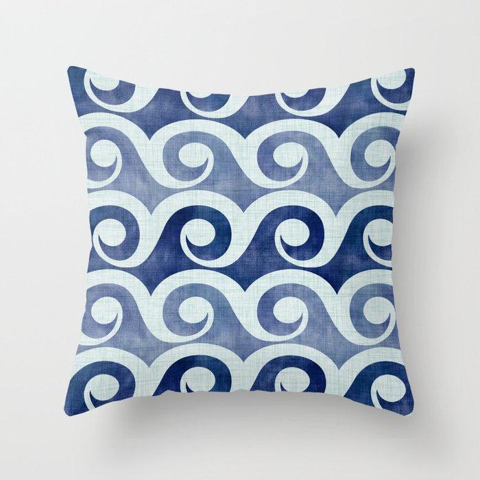 Retro Tropical Beach Waves - Indigo Blue Woodblock Throw Pillow