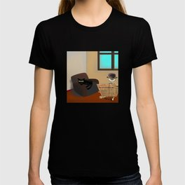 Monsieur Bone and the cat in the room T-shirt