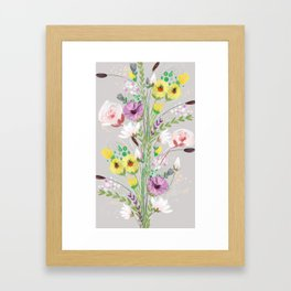 Floral On Icy Grey Framed Art Print