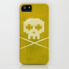 Knitted Skull (White on Yellow) iPhone Case