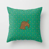 animal crossing Throw Pillows featuring Animal Crossing Summer Grass by Rebekhaart