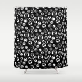 Superhero Infinity War Logo in Black Shower Curtain