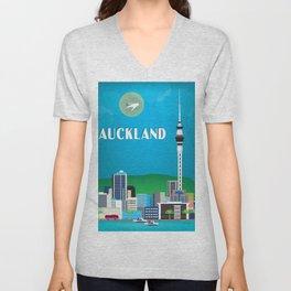 Auckland, New Zealand - Skyline Illustration by Loose Petals Unisex V-Neck