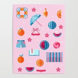 Summer beach essentials Poster