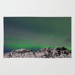 Northern Lights, East Fjords, Iceland Rug