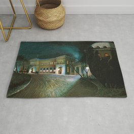 Around Midnight (Budapest East Station) by Tivadar Csontvary-Kosztka Rug