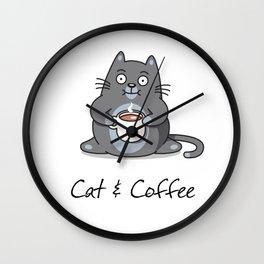 Cat & Coffee Wall Clock