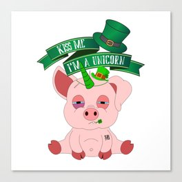 Kiss Me I'm A Unicorn St Patrick's Day Pig Canvas Print