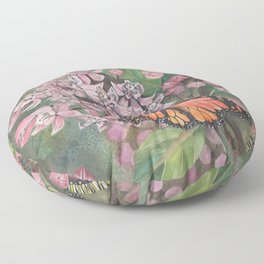 Monarch Butterfly and Milkweed Flowers Floor Pillow
