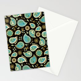 Hedgehog Paisley_Teal BgBlack Stationery Cards