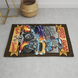 Speed Shop Hot Rod Muscle Car Parts and Service Vintage Cartoon Illustration Rug