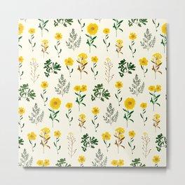 Yellow daisy pattern  Metal Print