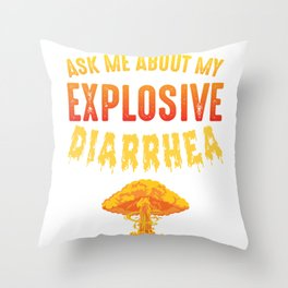 Explosive Diarrhea Funny Fart Joke Poop Stinker Throw Pillow