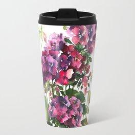 Watercolor geranium red pink flowers Travel Mug