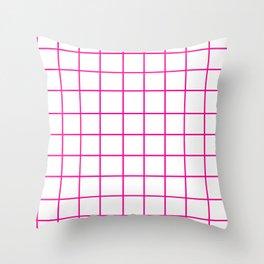 Grid (Magenta/White) Throw Pillow