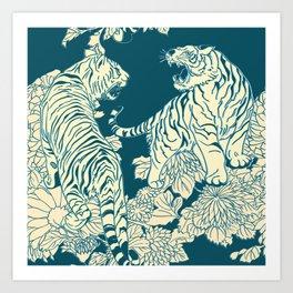 floral tigers Art Print