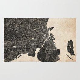 copenhagen map ink lines Rug