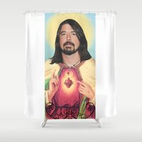 dave grohl Shower Curtains featuring Dave Grohl by Michelle Wenz