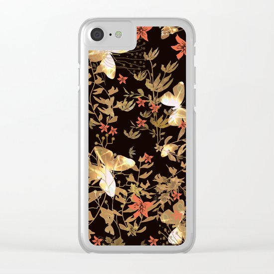 Golden butterfly in the night. Clear iPhone Case