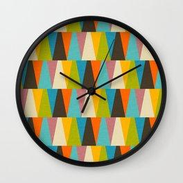 Retro Color Block Triangle Color Fun Wall Clock