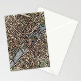 Vintage Map of Paris (1657) Stationery Cards
