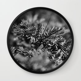 Greenery in Black and White Wall Clock