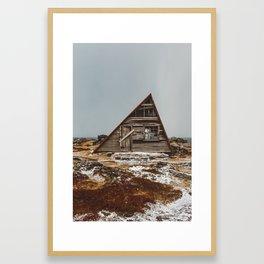 Icelandic Asymmetrical A-Frame Cabin Framed Art Print