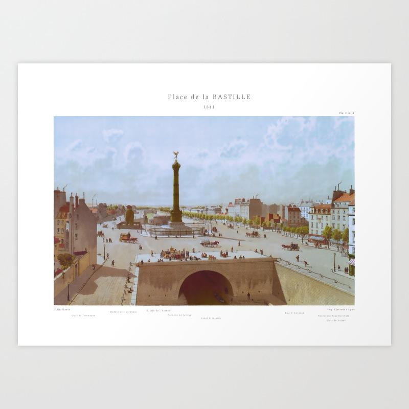 Paris Wall Art La Bastille 1841 Paris Bedroom Decor French Country Decor Gift For Architect Fig Art Print