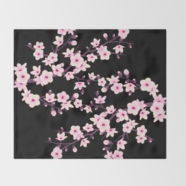 Cherry Blossom Pink Black Throw Blanket
