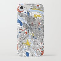 portland iPhone & iPod Cases featuring Portland by Mondrian Maps