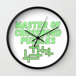 Master of Crossword Puzzles Gift Puzzler Gift Wall Clock