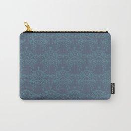 Vintage teal blue elegant floral damask Carry-All Pouch