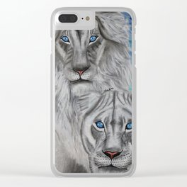 White Lions Clear iPhone Case