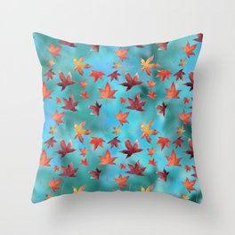 Dead Leaves over Cyan Throw Pillow