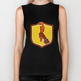 Black Plumber Hand Raising Monkey Wrench Crest Biker Tank